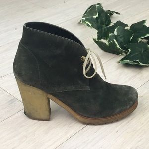 PRADA Military Green Suede Lace Up Ankle Booties